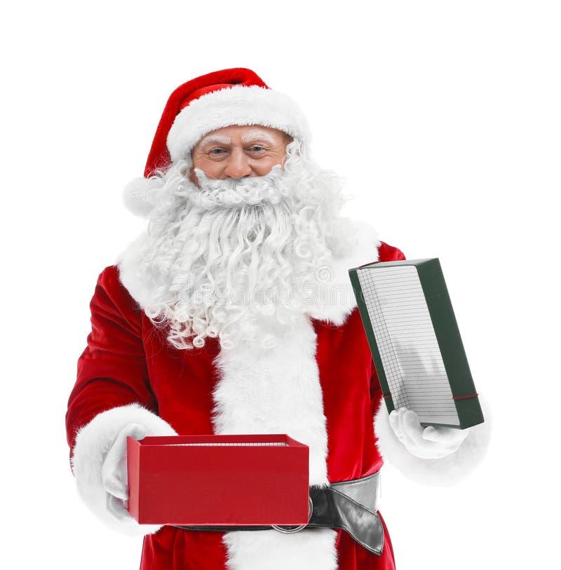 Download De Gelukkige Authentieke Santa Claus-doos Van De Holdingsgift Stock Foto - Afbeelding bestaande uit claus, authentiek: 107703132