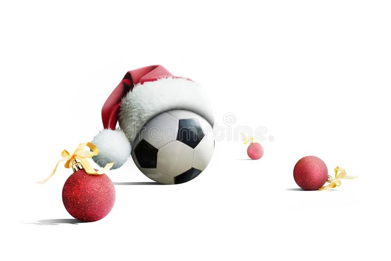 De gelukkige bal van het Nieuwjaarvoetbal Bal in een Nieuwe Year& x27; s GLB Voetbal stock foto
