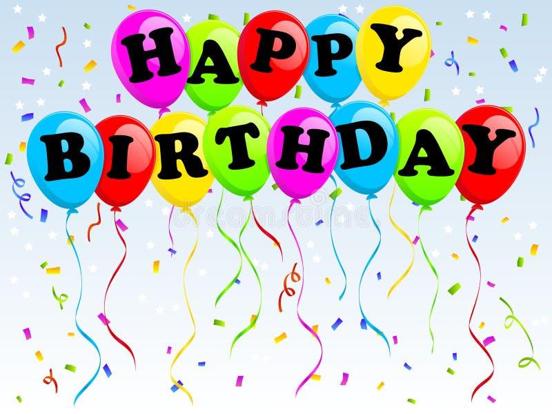 De gelukkige Ballons van de Verjaardag stock illustratie