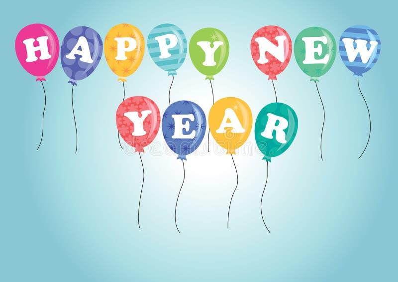 De gelukkige ballons van het Nieuwjaar royalty-vrije stock afbeeldingen