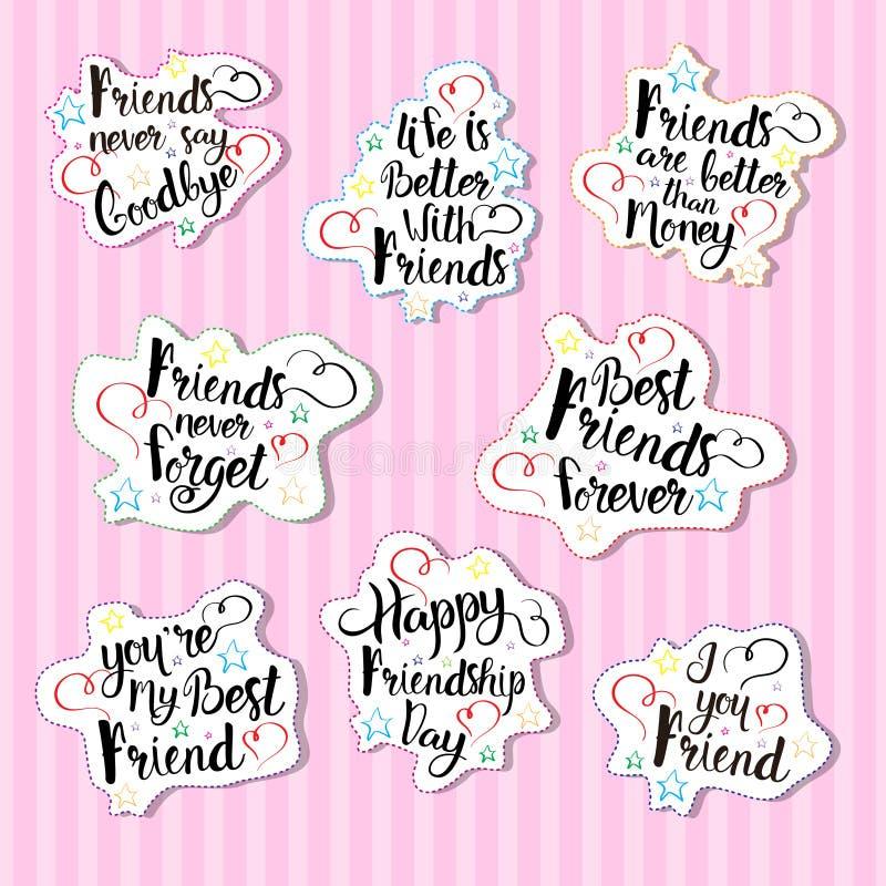 De gelukkige Banner van de de Vriendenvakantie van Logo Set Greeting Cards Collection van de Vriendschapsdag stock illustratie
