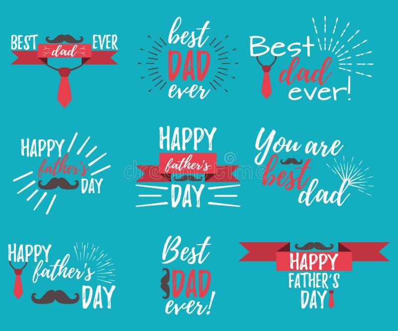 De gelukkige banner van de Vader` s Dag en giftcard Vector illustratie stock illustratie