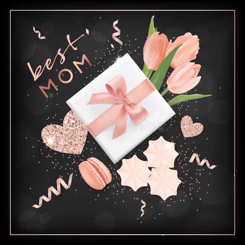 De gelukkige Banner van de Moedersdag met Bloemen Het Ontwerp van de moederdag met Gouden schittert Elementen, Giftdoos voor Groe stock illustratie