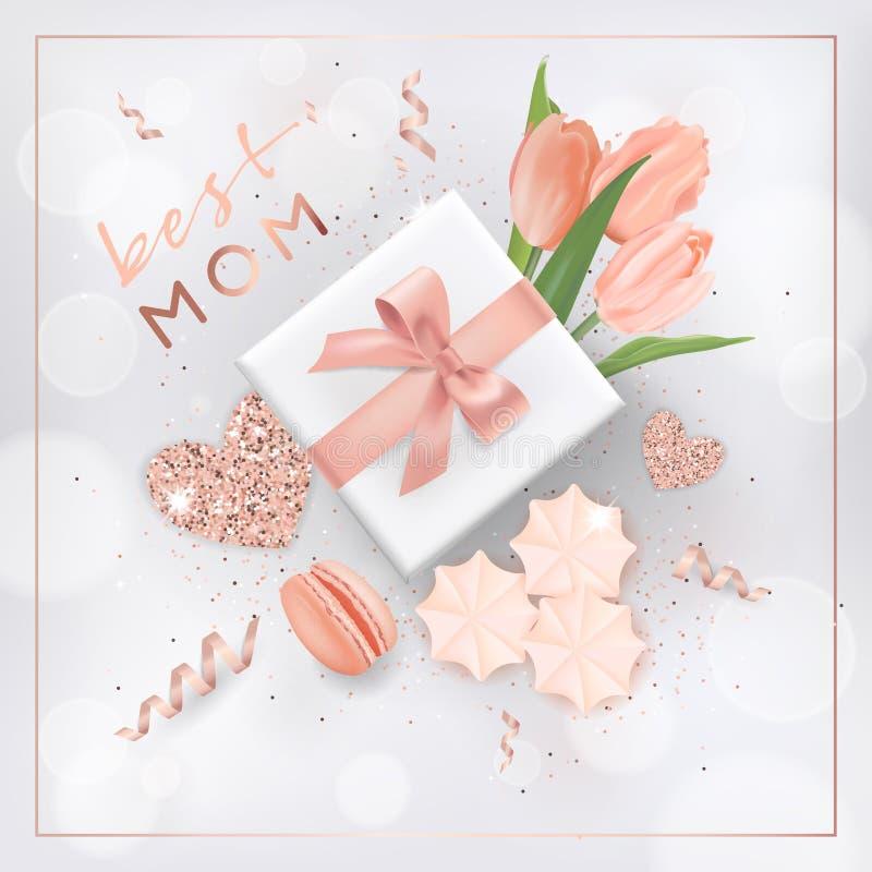 De gelukkige Banner van de Moedersdag met Bloemen Het Ontwerp van de moederdag met Gouden schittert Elementen, Giftdoos voor Groe vector illustratie