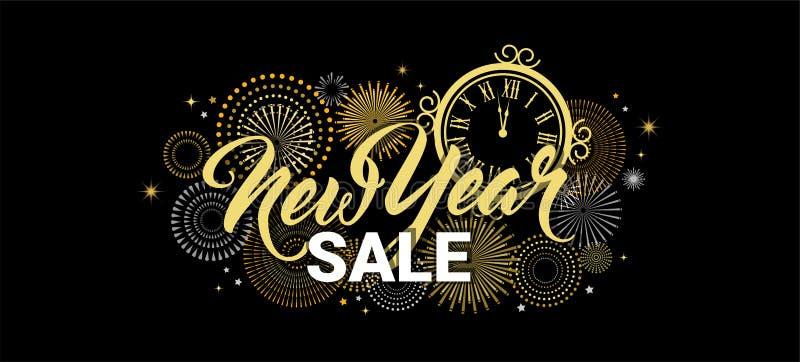 De gelukkige banner van de Nieuwjaarverkoop vectorillustratie met Vuurwerk zwarte Achtergrond Vectorvakantieontwerp voor Premie