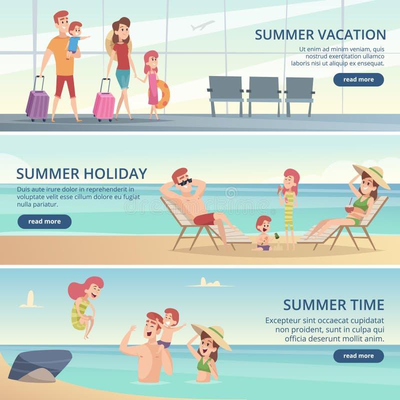 De gelukkige banners van de familiereis De zomervakantie op tropische overzees met ouders en jonge geitjes vectorachtergronden vo vector illustratie