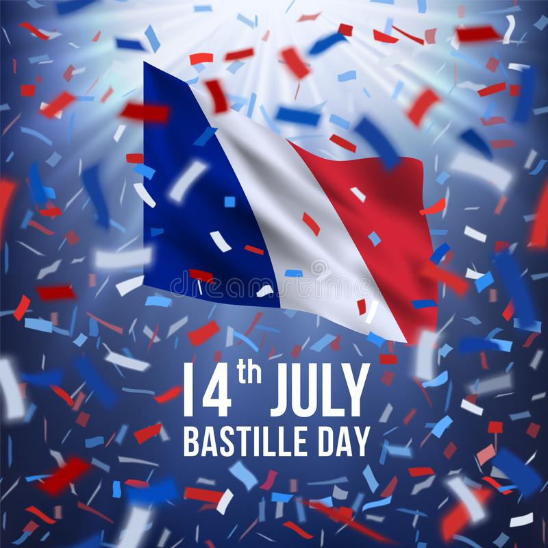 De gelukkige Bastille-Banner van de Dagviering vector illustratie