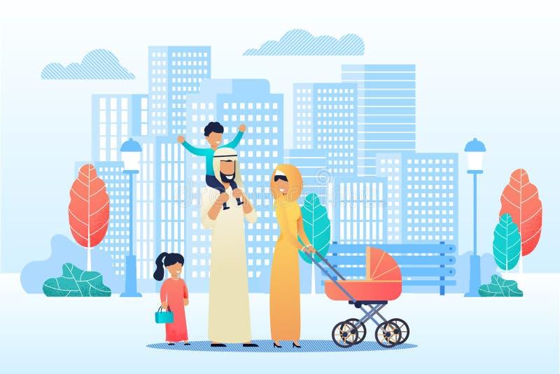 De gelukkige Beeldverhaal Arabische Familie brengt samen Tijd door stock illustratie