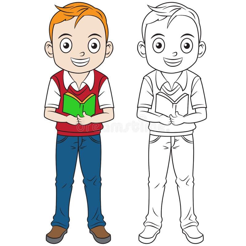 De gelukkige beeldverhaaljongen keert naar school terug gekleurd gebruikend levende verfemmer stock illustratie