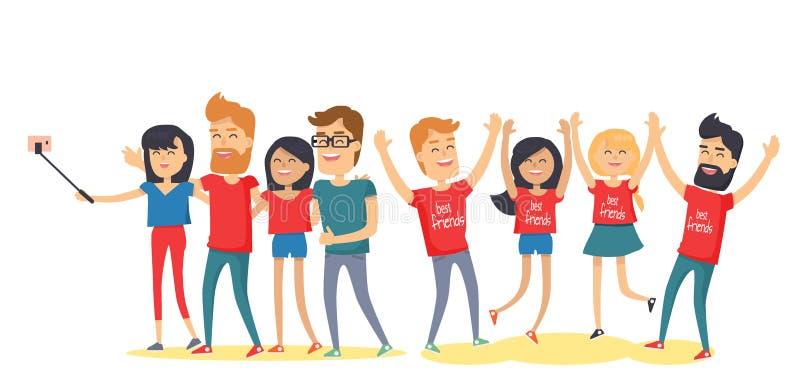 De gelukkige Beste Vrienden hebben Pret samen Vlakke Vector royalty-vrije illustratie