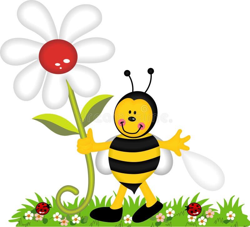 De gelukkige bloem van de bijenholding in tuin royalty-vrije illustratie