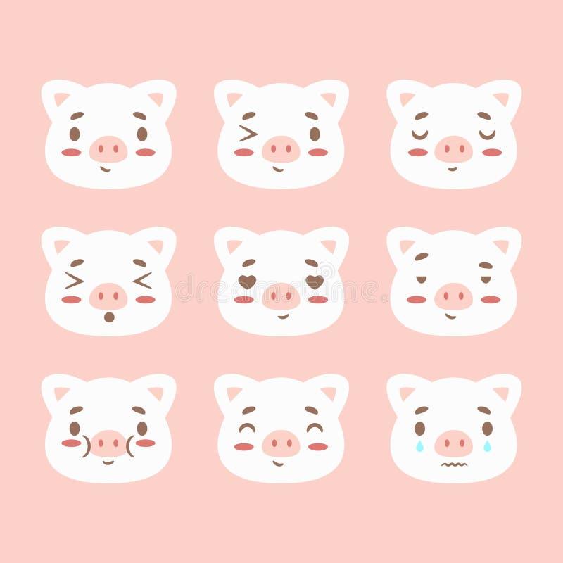 De gelukkige Chinese nieuwe het tekenkalender van de jaar 2019 Dierenriem met varkensemoji, emoticons doorboort kleurrijk grappig royalty-vrije illustratie