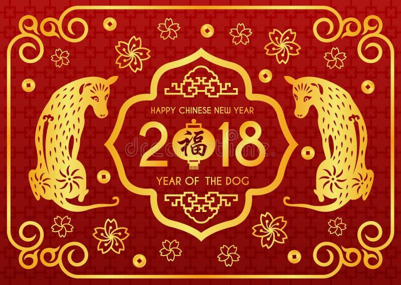 De gelukkige Chinese nieuwe jaar 2018 kaart met Chinees woord betekent zegenend bij lantaarns en tweeling Gouden hond vectorontwe stock illustratie