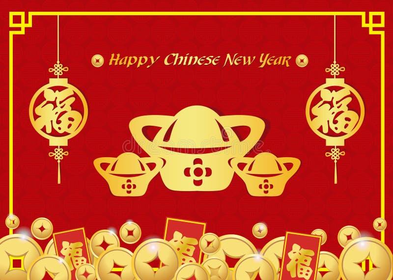 De gelukkige Chinese nieuwe jaarkaart is de gouden knoop van geld Gouden China en het Chinese woord betekent Geluk royalty-vrije illustratie