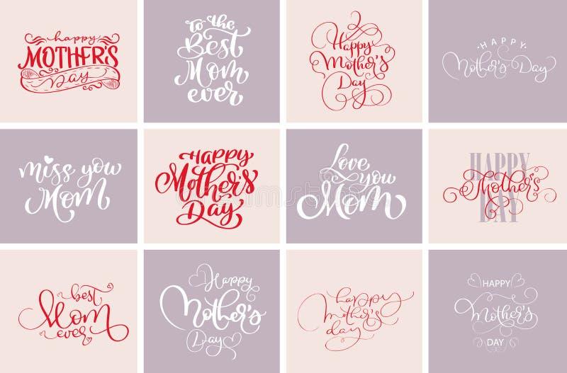 De gelukkige citaten van de moedersdag, Beste mamma ooit De reeks van vectort-shirt of prentbriefkaardruk ontwerpt, overhandigt g stock illustratie