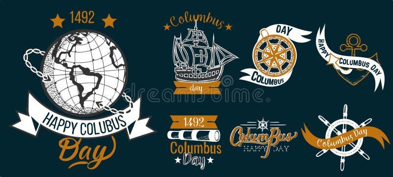 De gelukkige Columbus Day-vlakke reeks van het embleemteken vector illustratie