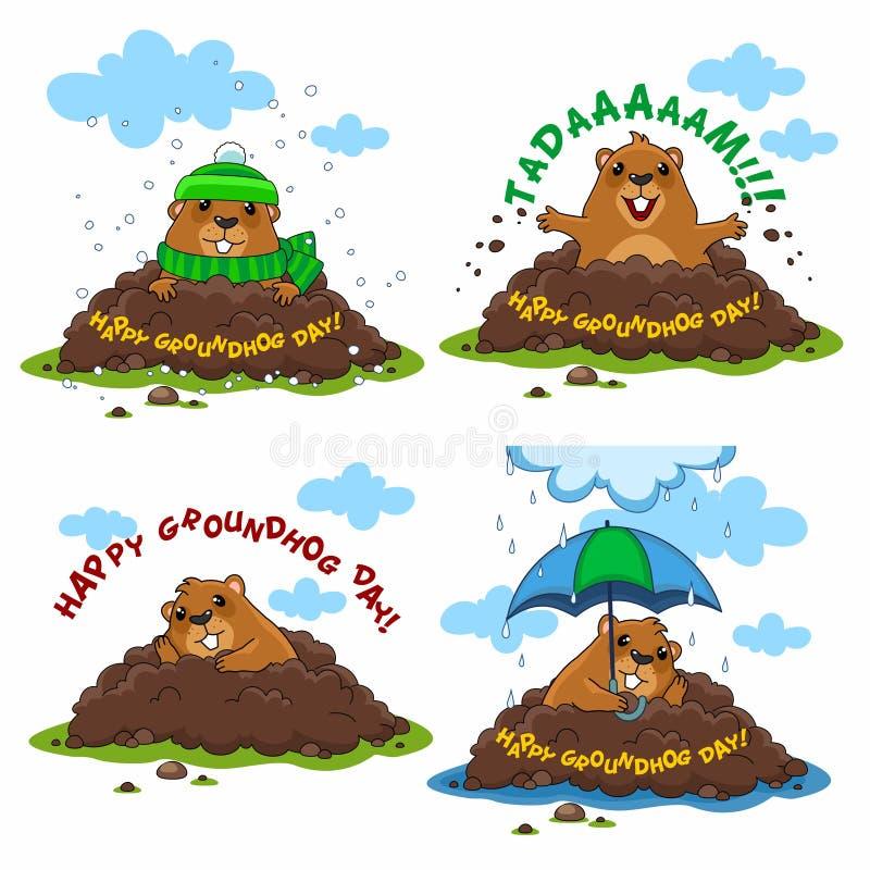 De de gelukkige Dag en verveling van Groundhog royalty-vrije illustratie
