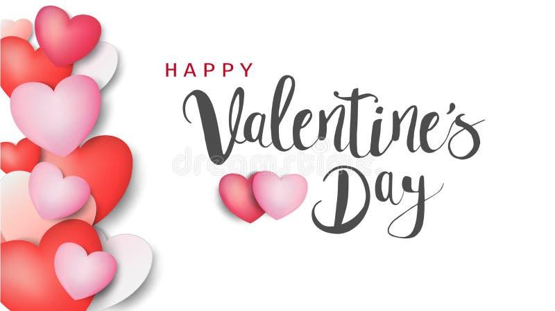 De gelukkige de dag kalligrafische Inschrijving van Valentine ` s verfraaide met rood hart en roze achtergrond Illustratie brochu royalty-vrije illustratie