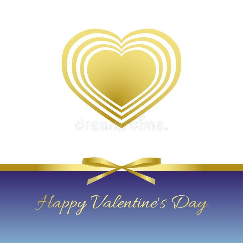De gelukkige Dag van de Valentijnskaart `s Gouden hart, gouden boog, gouden lint vector illustratie
