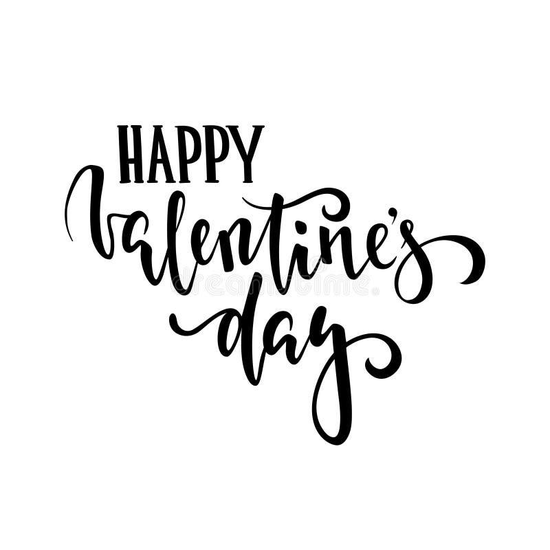 De gelukkige Dag van de Valentijnskaart `s Hand het getrokken creatieve kalligrafie en borstelpen van letters voorzien vector illustratie