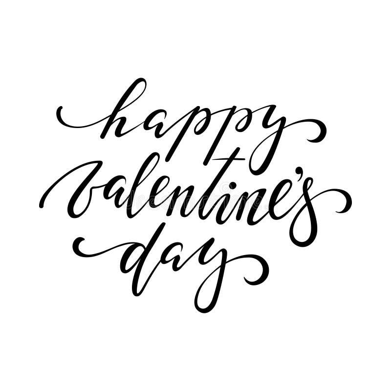 De gelukkige Dag van de Valentijnskaart `s Hand het getrokken creatieve kalligrafie en borstelpen van letters voorzien stock illustratie