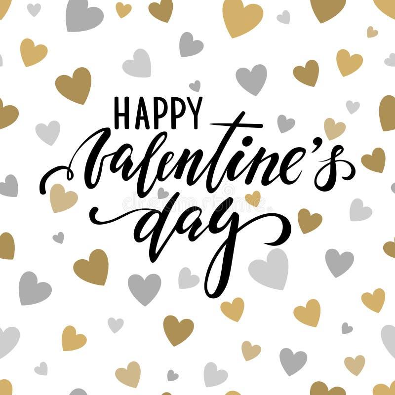De gelukkige Dag van de Valentijnskaart `s Hand het getrokken kalligrafie en borstelpen van letters voorzien op gouden en zilvere royalty-vrije illustratie