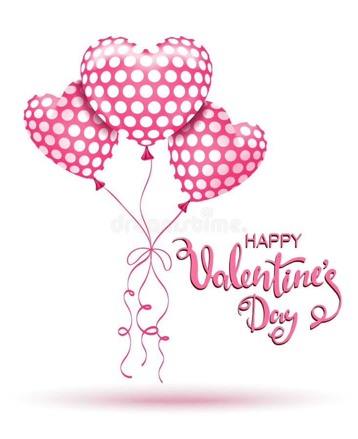 De gelukkige Dag van de Valentijnskaart `s Roze ballons en hand het getrokken van letters voorzien stock illustratie