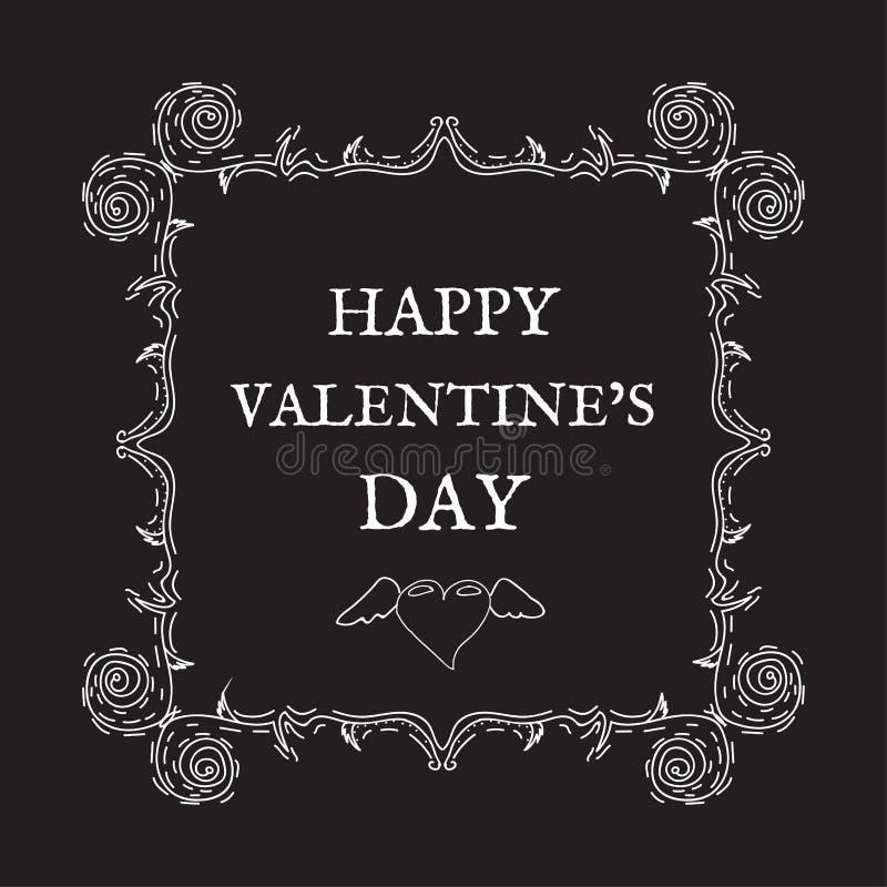 De gelukkige Dag van de Valentijnskaart `s Uitstekende, retro stijl Prentbriefkaar voor invita vector illustratie