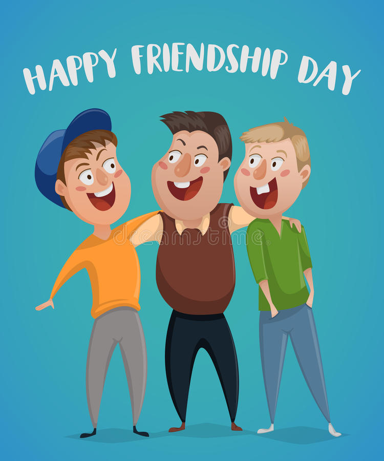 De gelukkige Dag van de Vriendschap Drie vrienden koesteren royalty-vrije illustratie