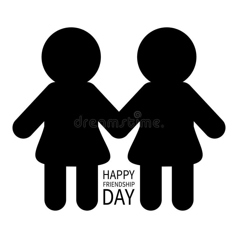 De gelukkige Dag van de Vriendschap Het tekensymbool van het twee zwarte vrouwelijk silhouet Meisjes die handenpictogram houden V stock illustratie