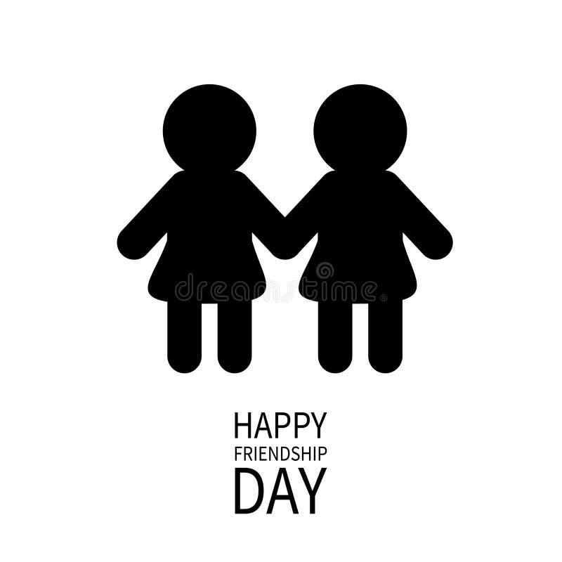 De gelukkige Dag van de Vriendschap Meisjes die handenpictogram houden Vrienden voor altijd Het tekensymbool van het twee zwarte  stock illustratie