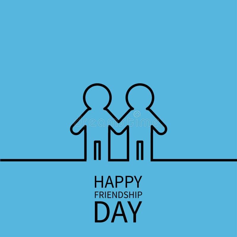 De gelukkige Dag van de Vriendschap Twee het zwarte symbool van het de lijnteken van de contourmens mannelijke Jongens die handen royalty-vrije illustratie