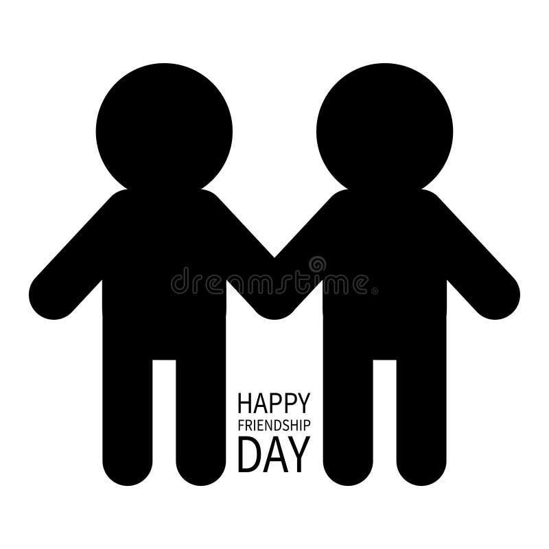 De gelukkige Dag van de Vriendschap Twee zwart het tekensymbool van het mensen mannelijk silhouet Jongens die handenpictogram hou royalty-vrije illustratie