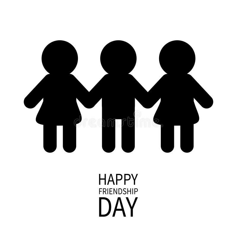 De gelukkige Dag van de Vriendschap Twee zwartewijfje stock illustratie