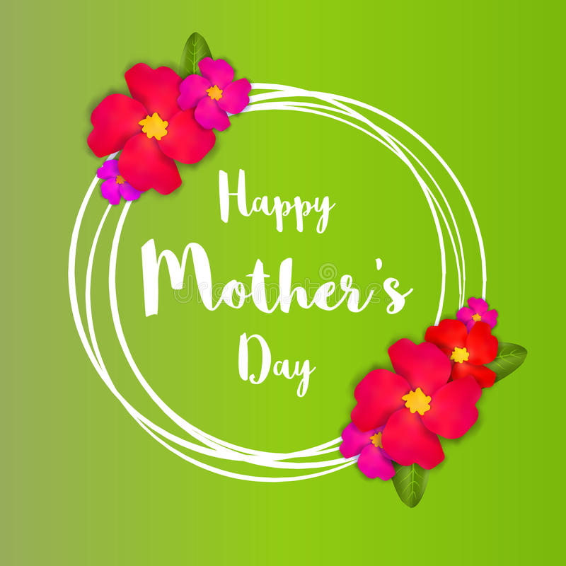 De gelukkige Dag van Moeders Roze Bloemengroetkaart met Bos van de Lentebloemen vector illustratie