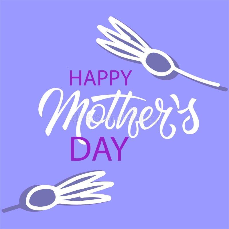 De gelukkige Dag van Moeders In vakantieontwerp in Skandinavische stijl Hand het van letters voorzien en minimalistic bloemendeco stock illustratie