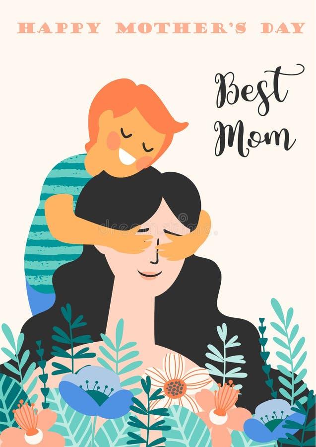 De gelukkige Dag van Moeders Vectorillustratie met vrouw en kind stock illustratie