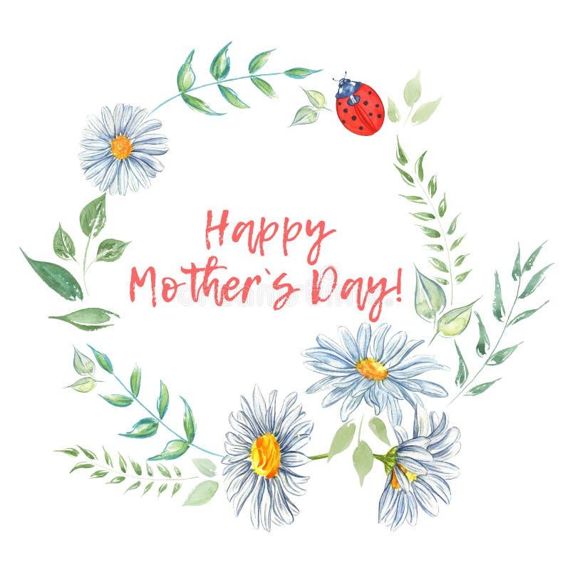 De gelukkige Dag van Moeders Waterverf bloemenkaders stock afbeeldingen