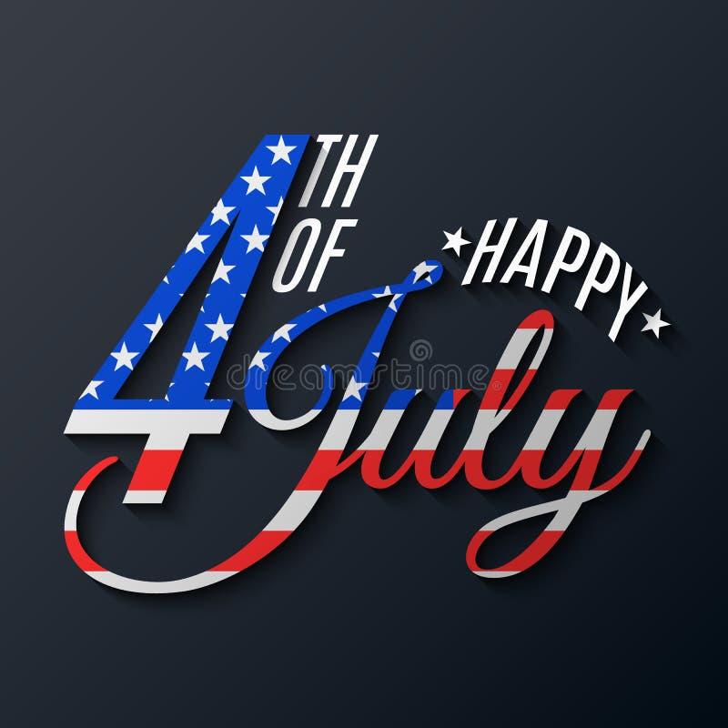 De gelukkige Dag van de Onafhankelijkheid Groetkaart voor 4 van Juli Feestelijke tekstbanner op een zwarte achtergrond Vlag van d stock illustratie