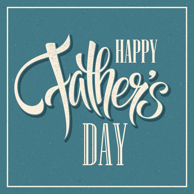 De gelukkige Dag van Vaders Hand van letters voorziende kaart Vector stock illustratie
