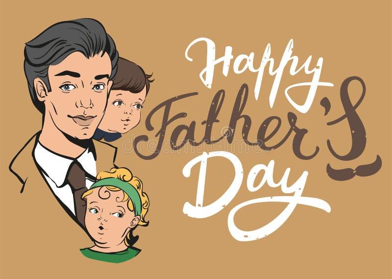 De gelukkige Dag van Vaders Van letters voorziende tekst voor groetkaart vector illustratie