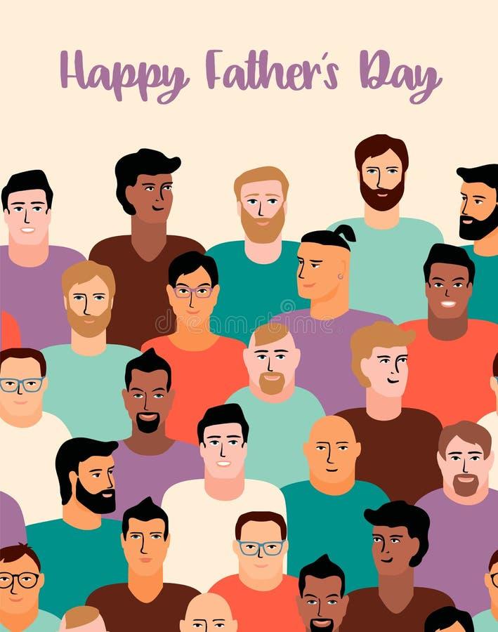 De gelukkige Dag van Vaders Vectorillustratie met mensengezichten vector illustratie