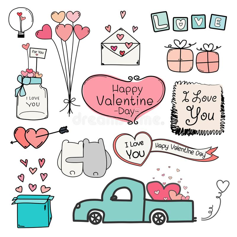 De gelukkige dag van de Valentijnskaart Reeks Elementen van Krabbelvalentine day labels and typography royalty-vrije illustratie