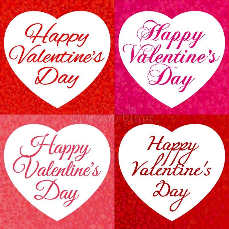 De gelukkige Dag van de Valentijnskaart `s Kaders met een achtergrond van dalende harten en met een inschrijving aan de Dag van V royalty-vrije stock afbeeldingen