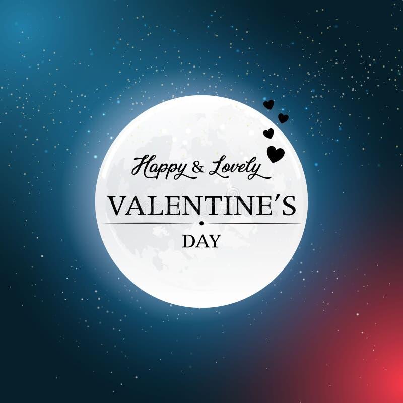 De gelukkige Dag van de Valentijnskaart `s Maantextuur Romantisch scènebehang Retro ontwerpelementen Vector illustratie Eps 10 stock illustratie