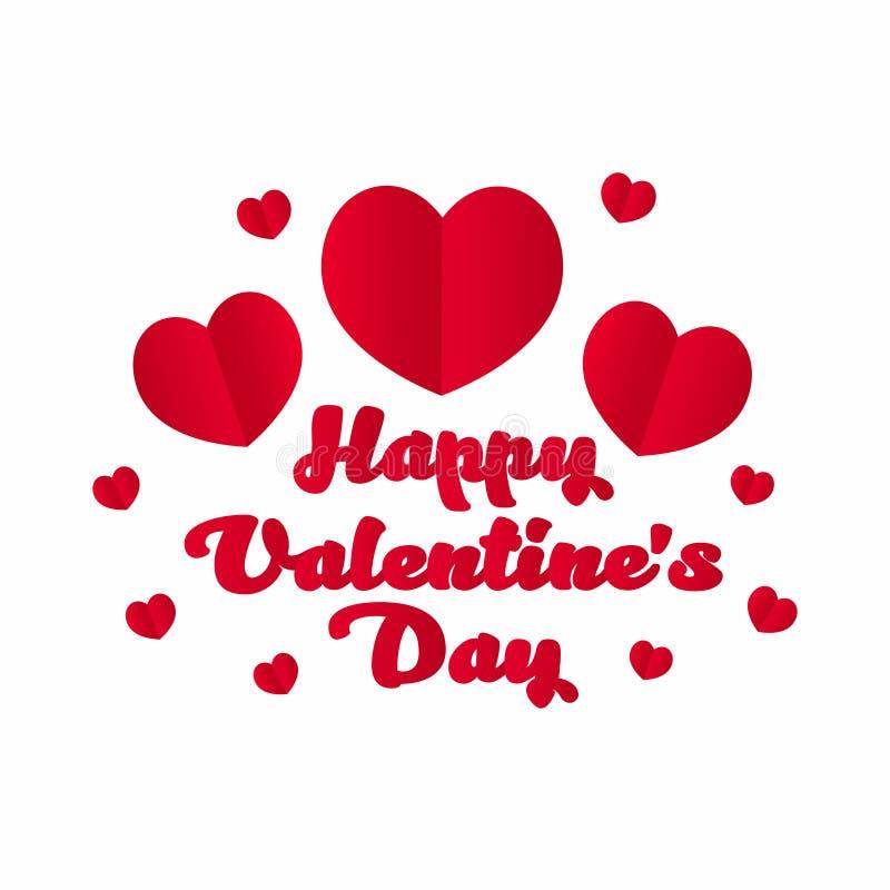 De gelukkige Dag van de Valentijnskaart `s Rode harten met het van letters voorzien op witte achtergrond De Dagbanner van Valenti stock illustratie