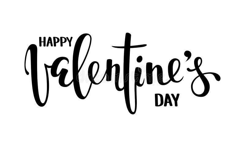 De gelukkige Dag van Valentine s Hand het getrokken creatieve kalligrafie en borstelpen van letters voorzien geïsoleerd op witte  royalty-vrije illustratie
