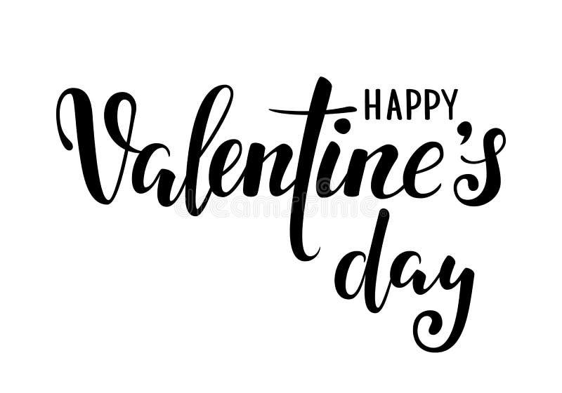 De gelukkige Dag van Valentine s Hand het getrokken creatieve kalligrafie en borstelpen van letters voorzien geïsoleerd op witte  stock illustratie