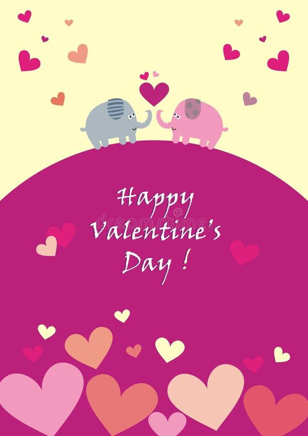 De gelukkige Dag van Valentine ` s, olifanten en harten, prentbriefkaaren, vectorpictogrammen royalty-vrije illustratie