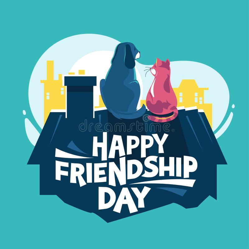 De gelukkige Dag van de Vriendschap Hond en katten het spelen bij het dak stock illustratie